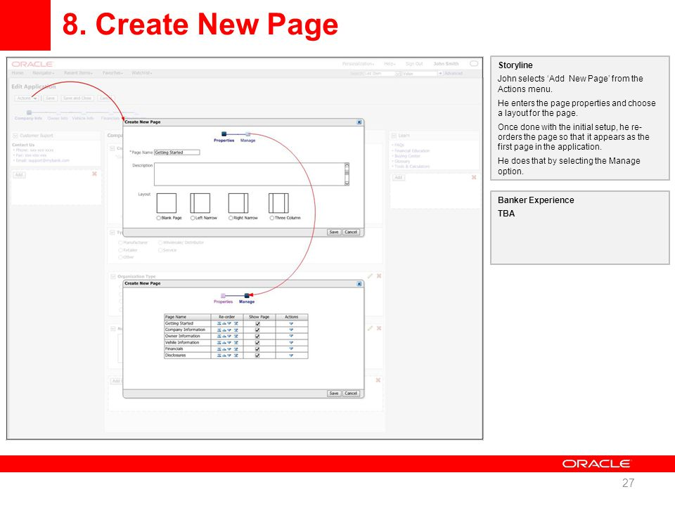 8. Create New Page 27 Storyline John selects 'Add New Page' from the Actions menu.