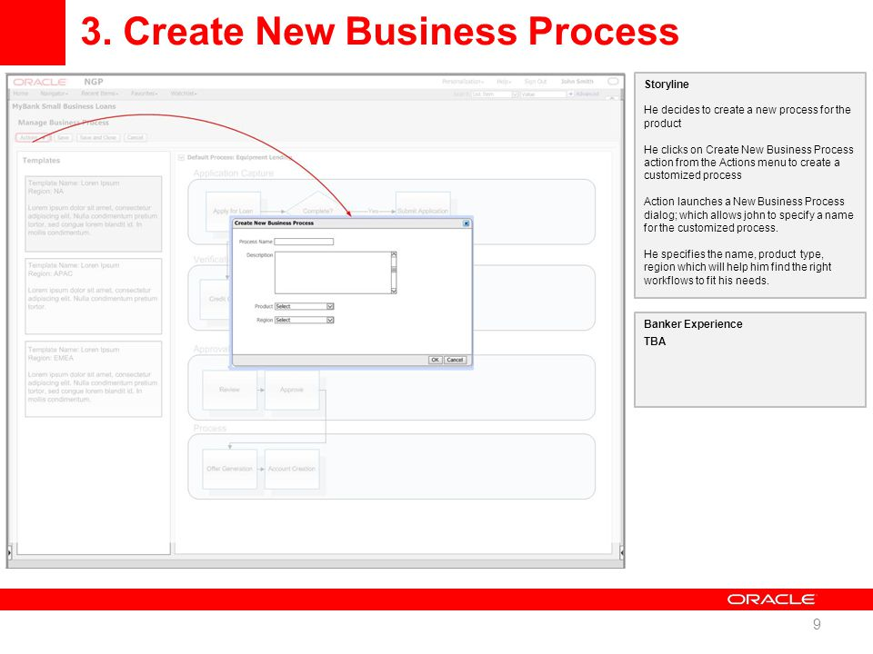 3. Create New Business Process 9 Storyline He decides to create a new process for the product He clicks on Create New Business Process action from the