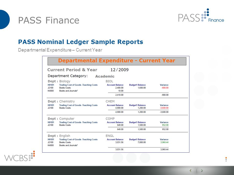 PASS Finance PASS Nominal Ledger Sample Reports Departmental Expenditure – Current Year