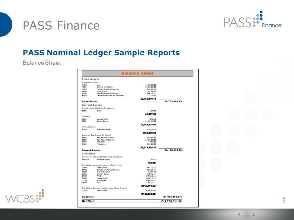 PASS Finance PASS Nominal Ledger Sample Reports Balance Sheet