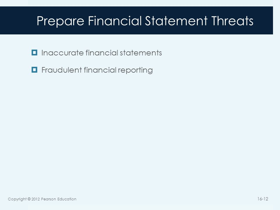 Prepare Financial Statement Threats  Inaccurate financial statements  Fraudulent financial reporting Copyright © 2012 Pearson Education 16-12