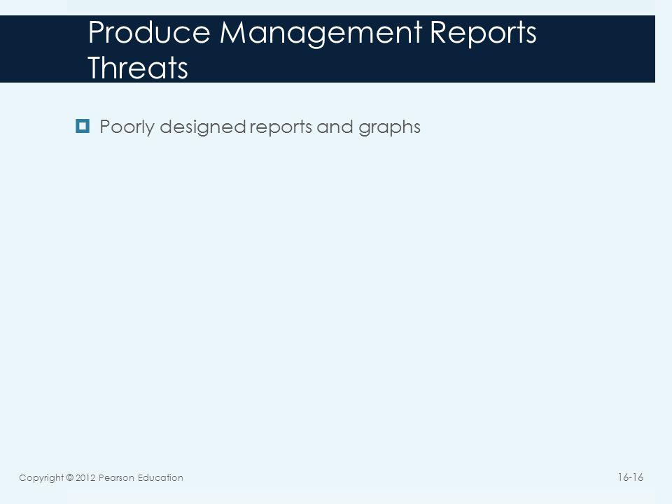 Produce Management Reports Threats  Poorly designed reports and graphs Copyright © 2012 Pearson Education 16-16