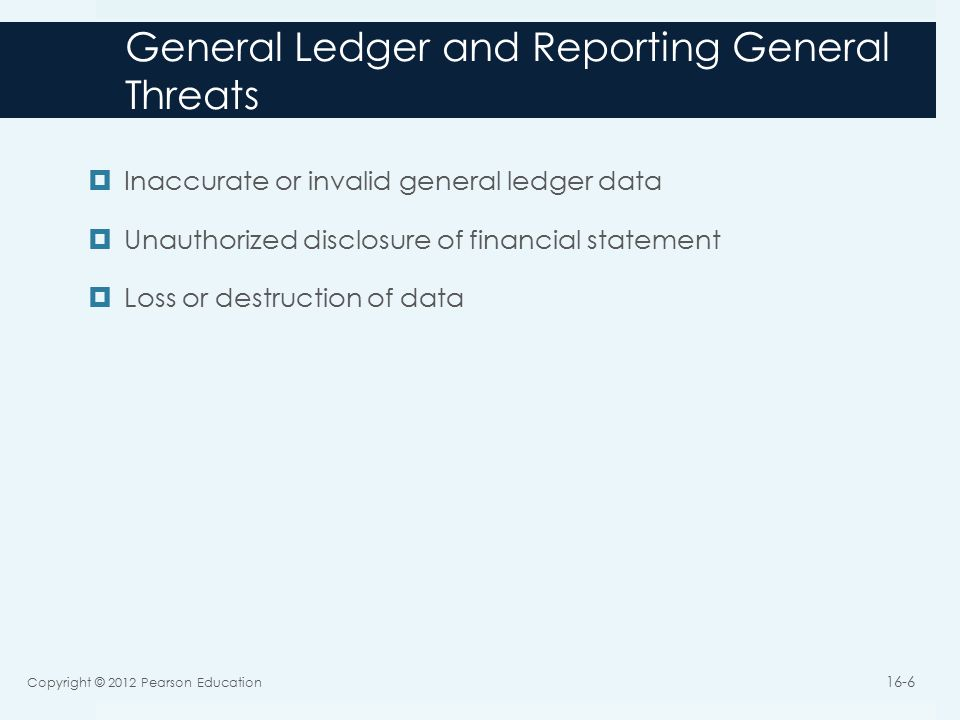 General Ledger and Reporting General Threats  Inaccurate or invalid general ledger data  Unauthorized disclosure of financial statement  Loss or destruction of data Copyright © 2012 Pearson Education 16-6
