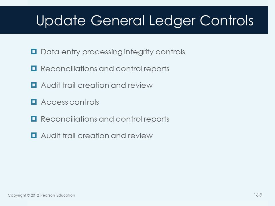 Update General Ledger Controls  Data entry processing integrity controls  Reconciliations and control reports  Audit trail creation and review  Access controls  Reconciliations and control reports  Audit trail creation and review Copyright © 2012 Pearson Education 16-9