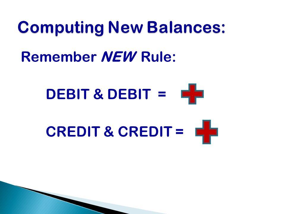 Remember NEW Rule: DEBIT & DEBIT = CREDIT & CREDIT =