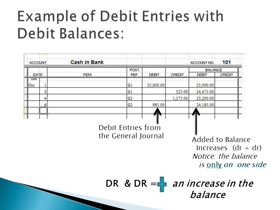 Debit Entries from the General Journal Added to Balance Increases (dr + dr) Notice: the balance is only on one side DR & DR = an increase in the balance