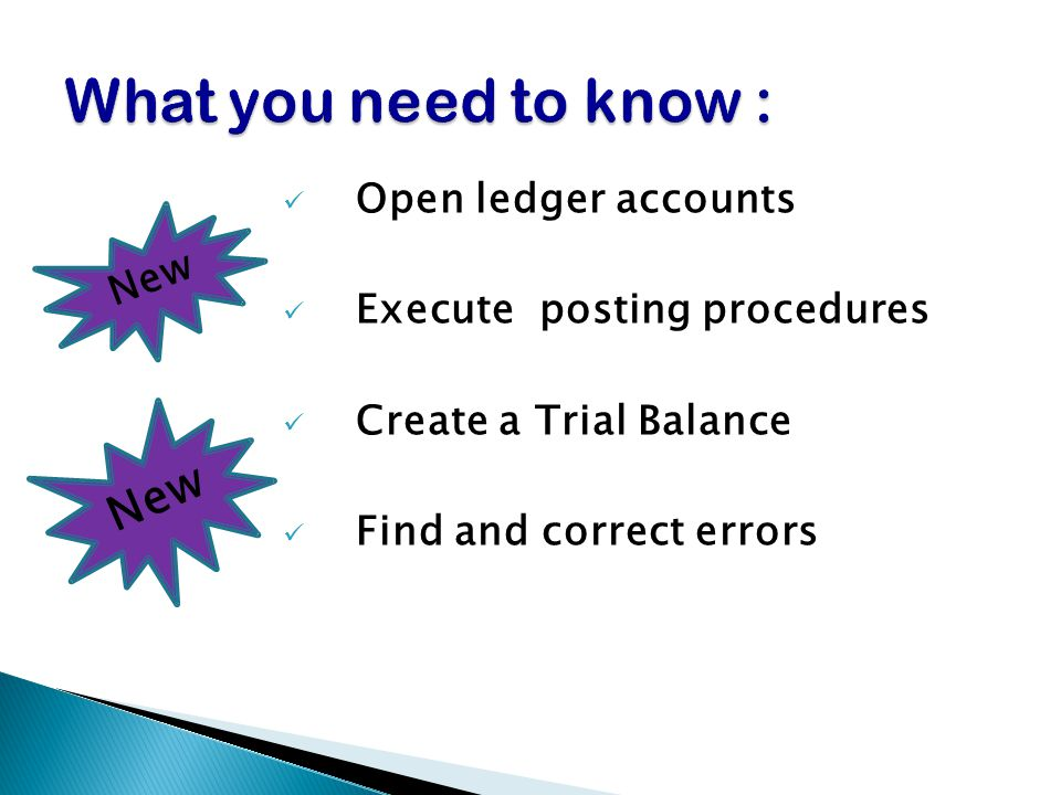 Open ledger accounts Execute posting procedures Create a Trial Balance Find and correct errors New