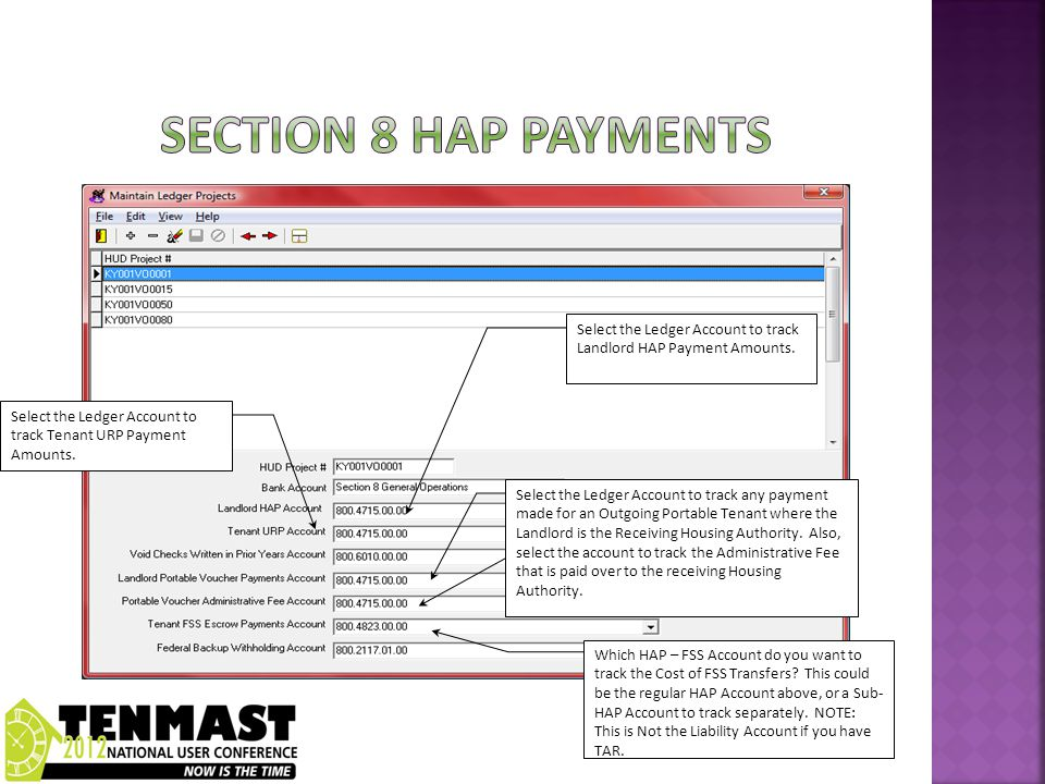Select the Ledger Account to track Tenant URP Payment Amounts.