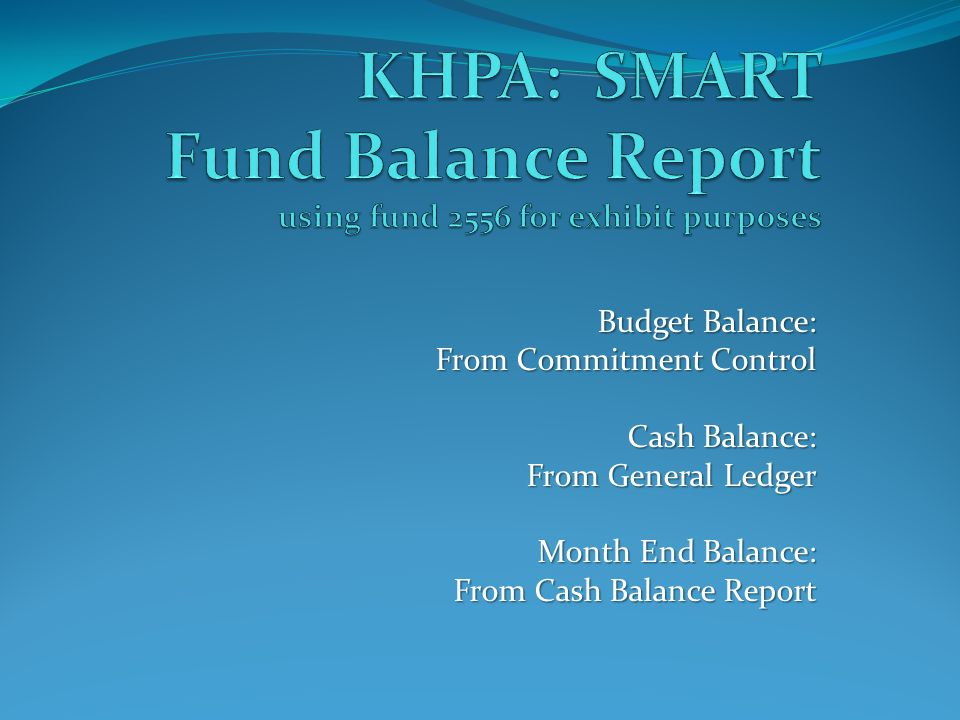 Budget Balance: From Commitment Control Cash Balance: From General Ledger Month End Balance: From Cash Balance Report