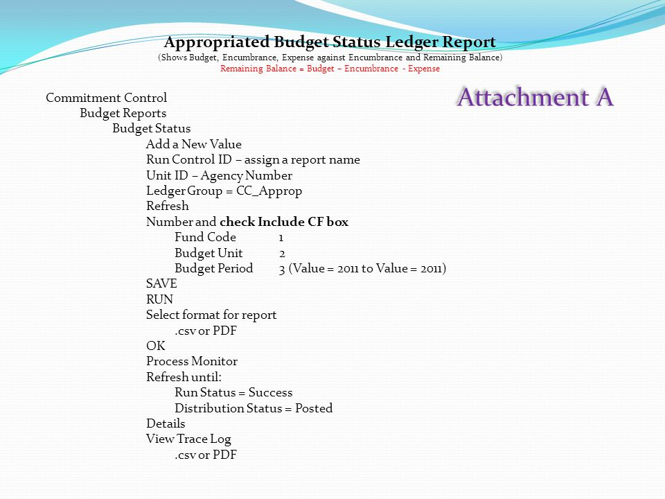Appropriated Budget Status Ledger Report (Shows Budget, Encumbrance, Expense against Encumbrance and Remaining Balance) Remaining Balance = Budget – E