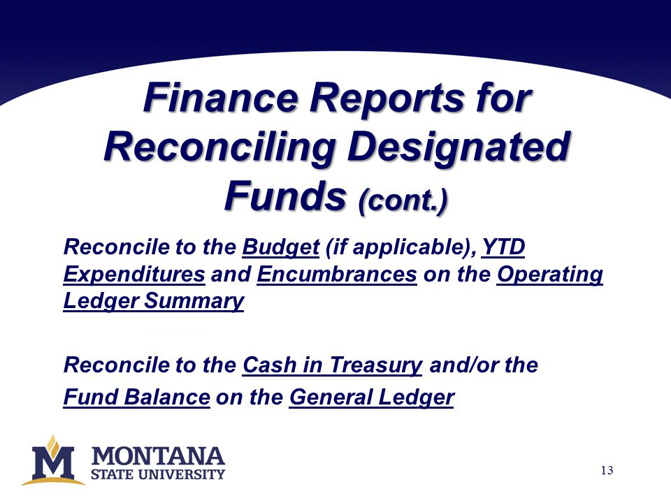 Finance Reports for Reconciling Designated Funds (cont.) Reconcile to the Budget (if applicable), YTD Expenditures and Encumbrances on the Operating Ledger Summary Reconcile to the Cash in Treasury and/or the Fund Balance on the General Ledger 13