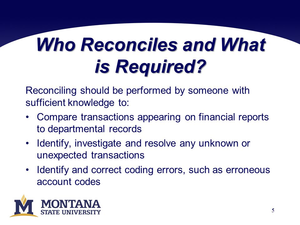 Who Reconciles and What is Required.