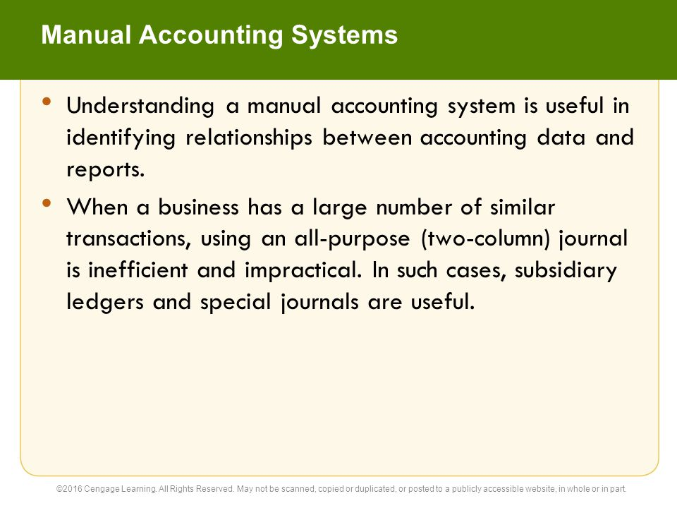 Manual Accounting Systems Understanding a manual accounting system is useful in identifying relationships between accounting data and reports. When a