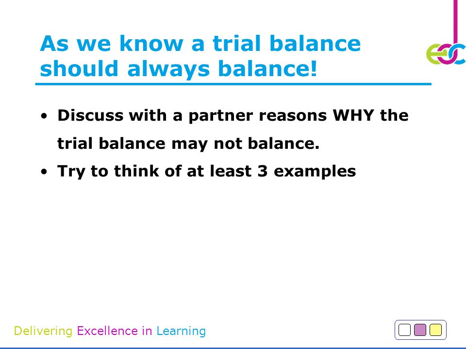Delivering Excellence in Learning As we know a trial balance should always balance.