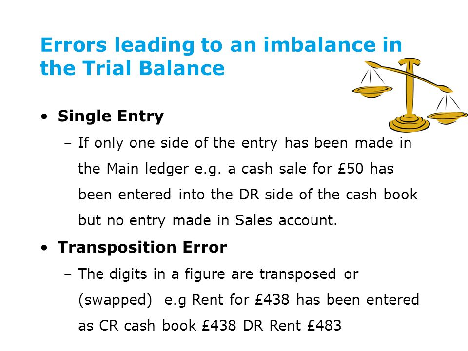 Errors leading to an imbalance in the Trial Balance Single Entry –If only one side of the entry has been made in the Main ledger e.g.
