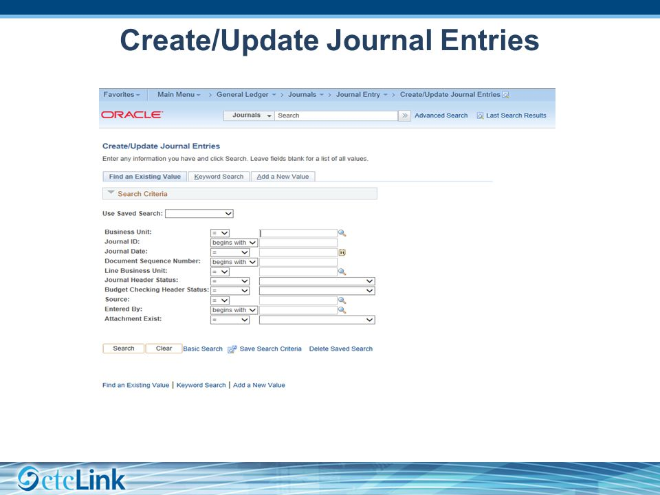 Create/Update Journal Entries