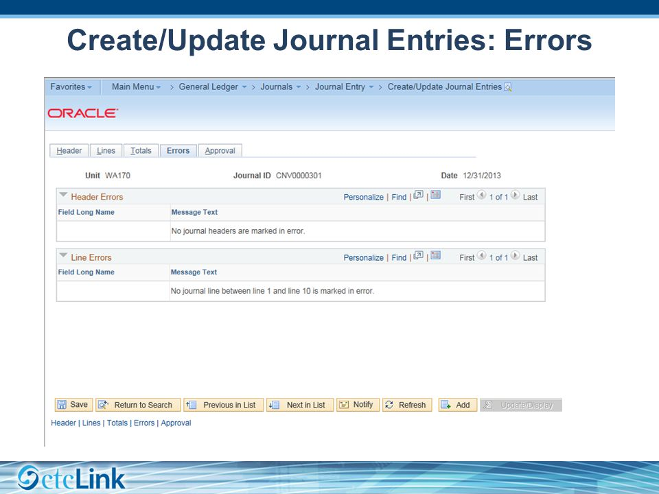 Create/Update Journal Entries: Errors