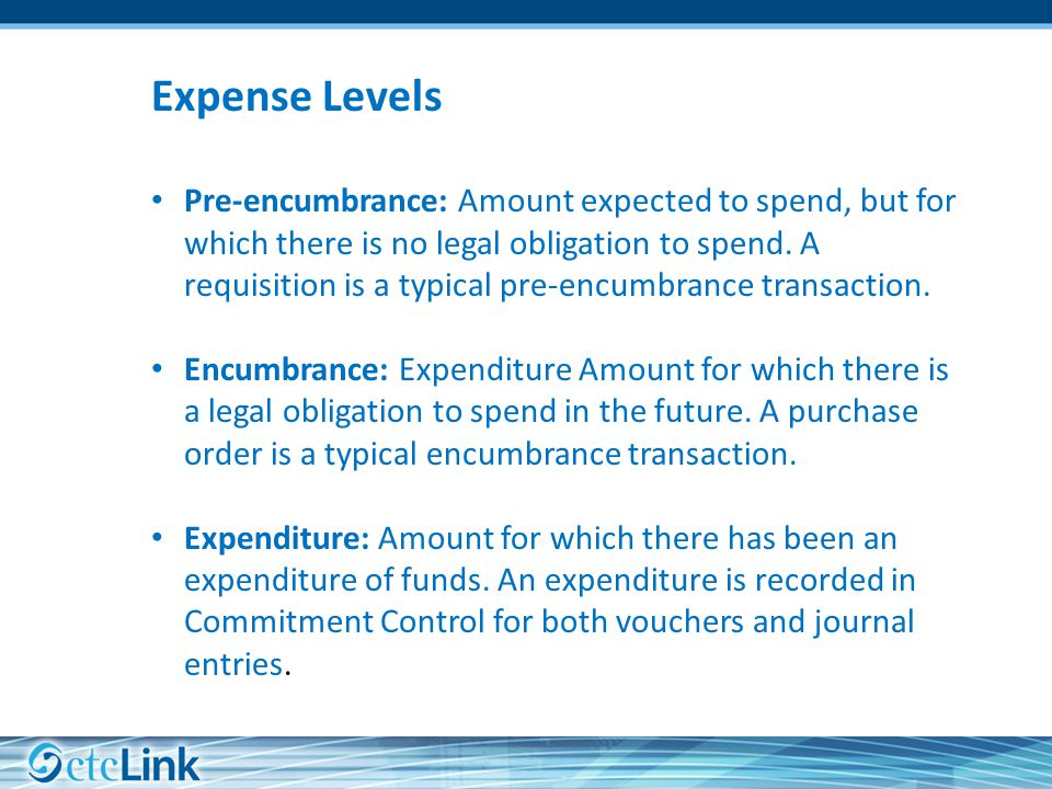Expense Levels Pre-encumbrance: Amount expected to spend, but for which there is no legal obligation to spend.