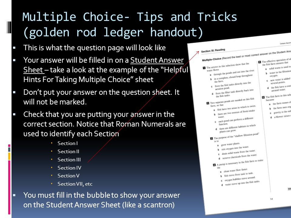 Multiple Choice- Tips and Tricks (golden rod ledger handout)  This is what the question page will look like  Your answer will be filled in on a Student Answer Sheet – take a look at the example of the Helpful Hints For Taking Multiple Choice sheet  Don't put your answer on the question sheet.