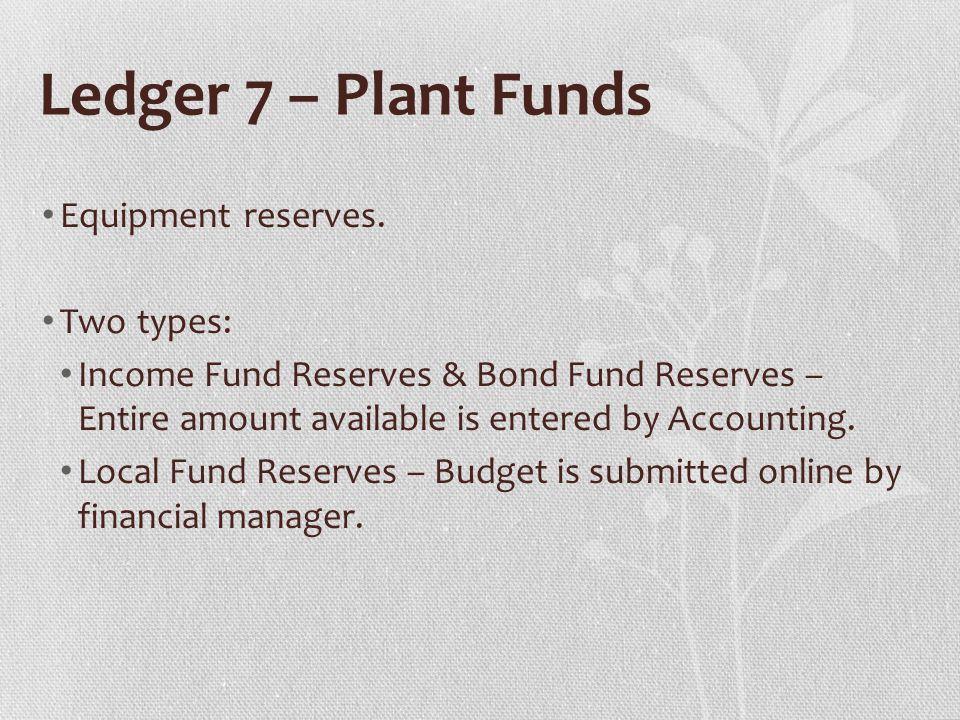 Ledger 7 – Plant Funds Equipment reserves.