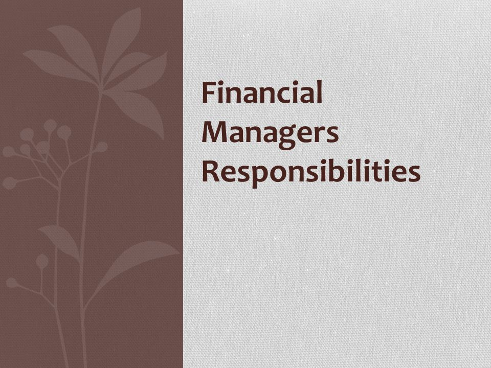 Financial Managers Responsibilities Financial Managers Responsibilities