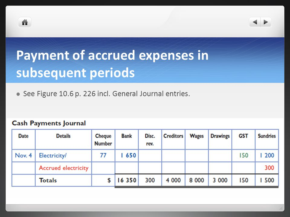 Payment of accrued expenses in subsequent periods See Figure 10.6 p.