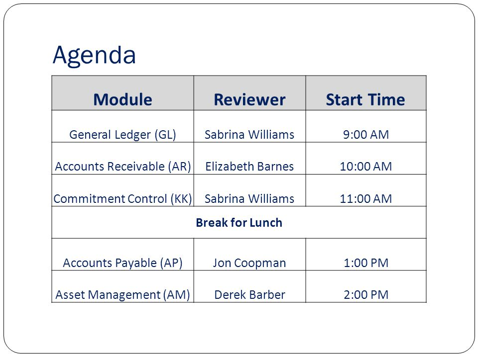 Agenda ModuleReviewerStart Time General Ledger (GL)Sabrina Williams9:00 AM Accounts Receivable (AR)Elizabeth Barnes10:00 AM Commitment Control (KK)Sabrina Williams11:00 AM Break for Lunch Accounts Payable (AP)Jon Coopman1:00 PM Asset Management (AM)Derek Barber2:00 PM
