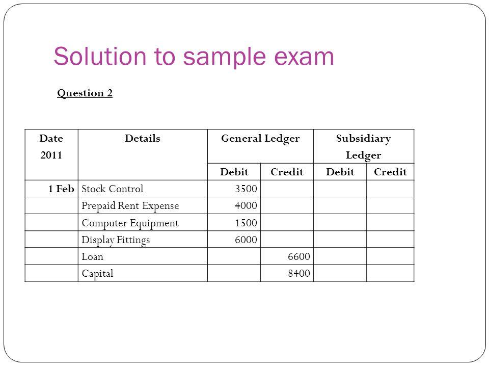 Solution to sample exam Date 2011 DetailsGeneral Ledger Subsidiary Ledger DebitCreditDebitCredit 1 FebStock Control3500 Prepaid Rent Expense4000 Compu