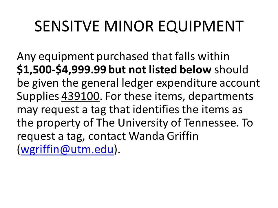 SENSITVIE MINOR EQUIPMENT The asset is created for Sensitive Minor Equipment under 80000.