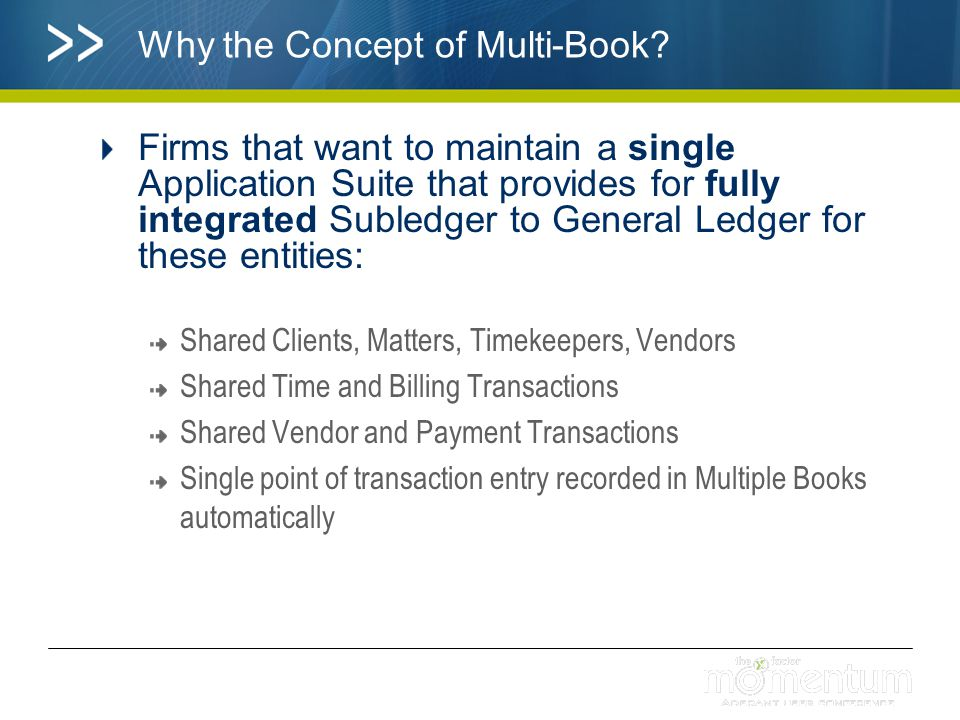 Why the Concept of Multi Book in Practice.