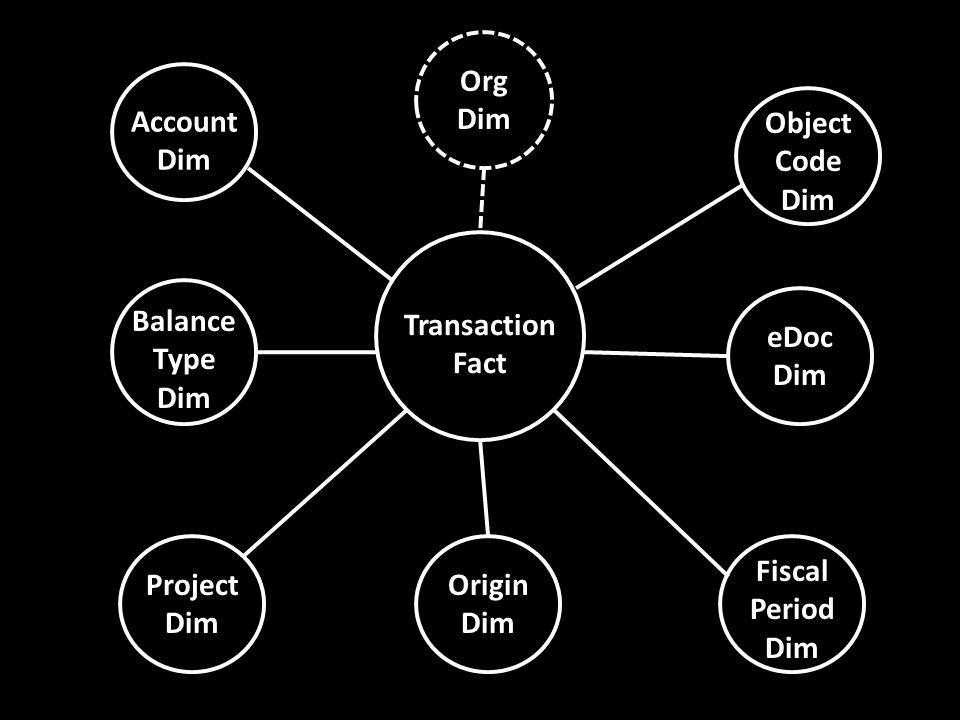 Transaction Fact Account Dim Object Code Dim Project Dim Fiscal Period Dim Balance Type Dim eDoc Dim Origin Dim Org Dim