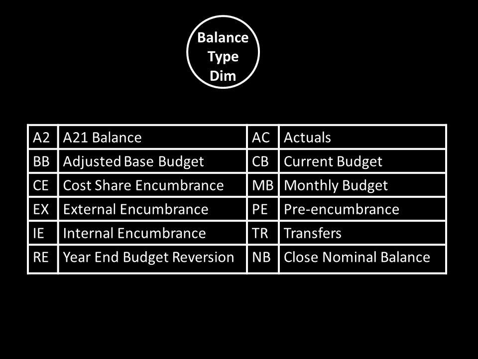 Balance Type Dim A2A21 BalanceACActuals BBAdjusted Base BudgetCBCurrent Budget CECost Share EncumbranceMBMonthly Budget EXExternal EncumbrancePEPre-en