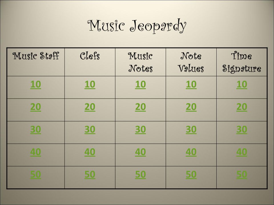Music Jeopardy Music StaffClefsMusic Notes Note Values Time Signature 10 20 30 40 50