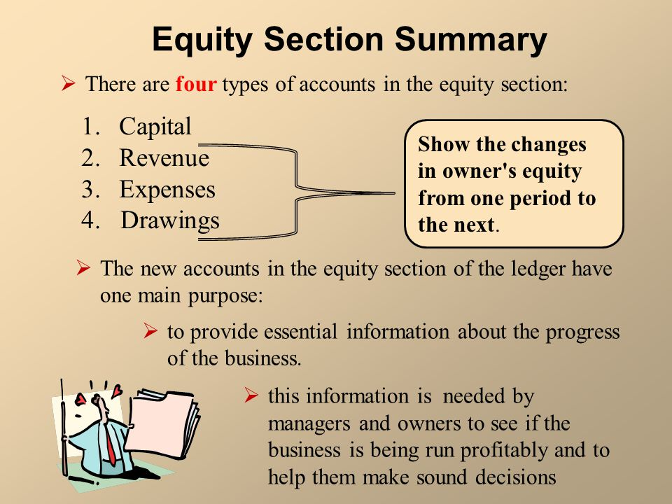 Equity Section Summary  There are four types of accounts in the equity section: 1.Capital 2.Revenue 3.Expenses 4. Drawings Show the changes in owner'