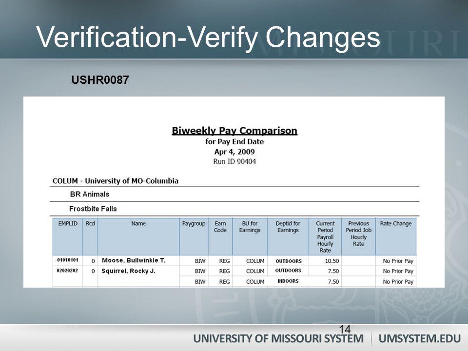 Verification-Verify Changes USHR0087 14