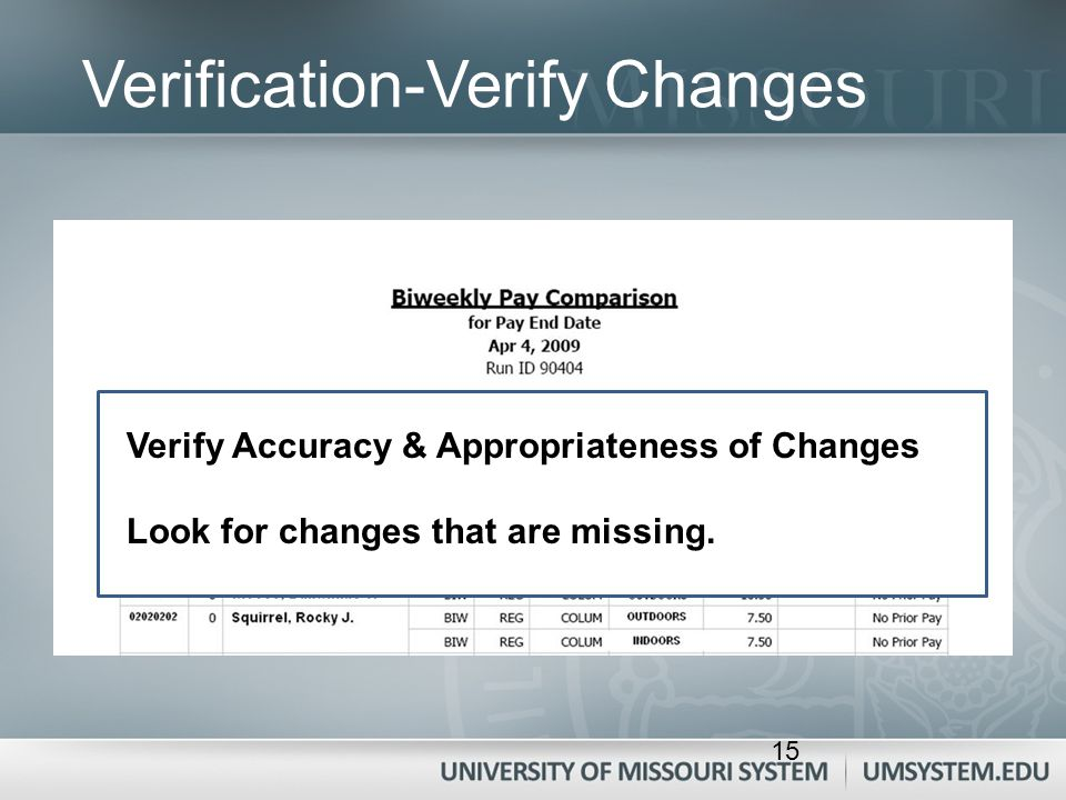 Verification-Verify Changes Verify Accuracy & Appropriateness of Changes Look for changes that are missing. 15
