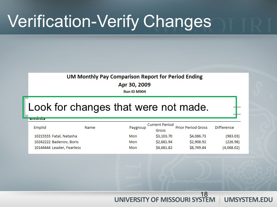 Verification-Verify Changes Look for changes that were not made. 18
