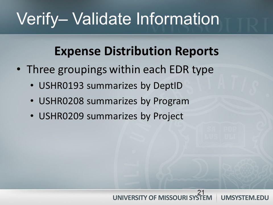 Verify– Validate Information Expense Distribution Reports Three groupings within each EDR type USHR0193 summarizes by DeptID USHR0208 summarizes by Pr