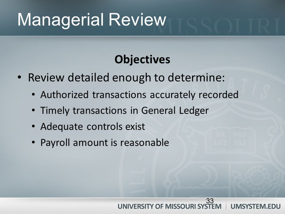 Managerial Review Objectives Review detailed enough to determine: Authorized transactions accurately recorded Timely transactions in General Ledger Ad