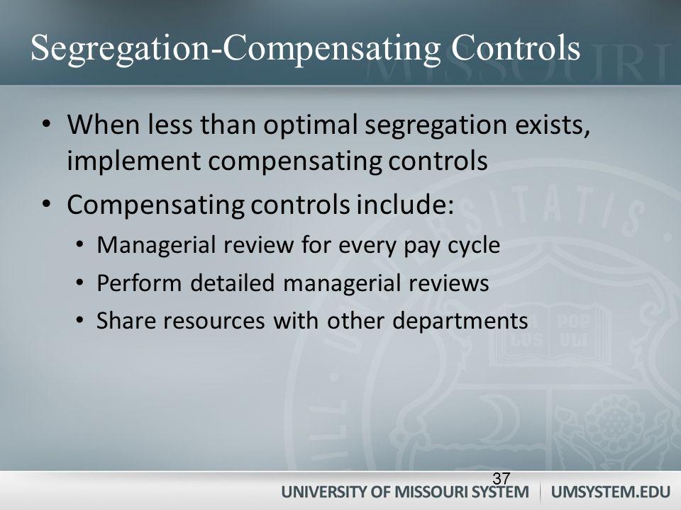 Segregation-Compensating Controls When less than optimal segregation exists, implement compensating controls Compensating controls include: Managerial
