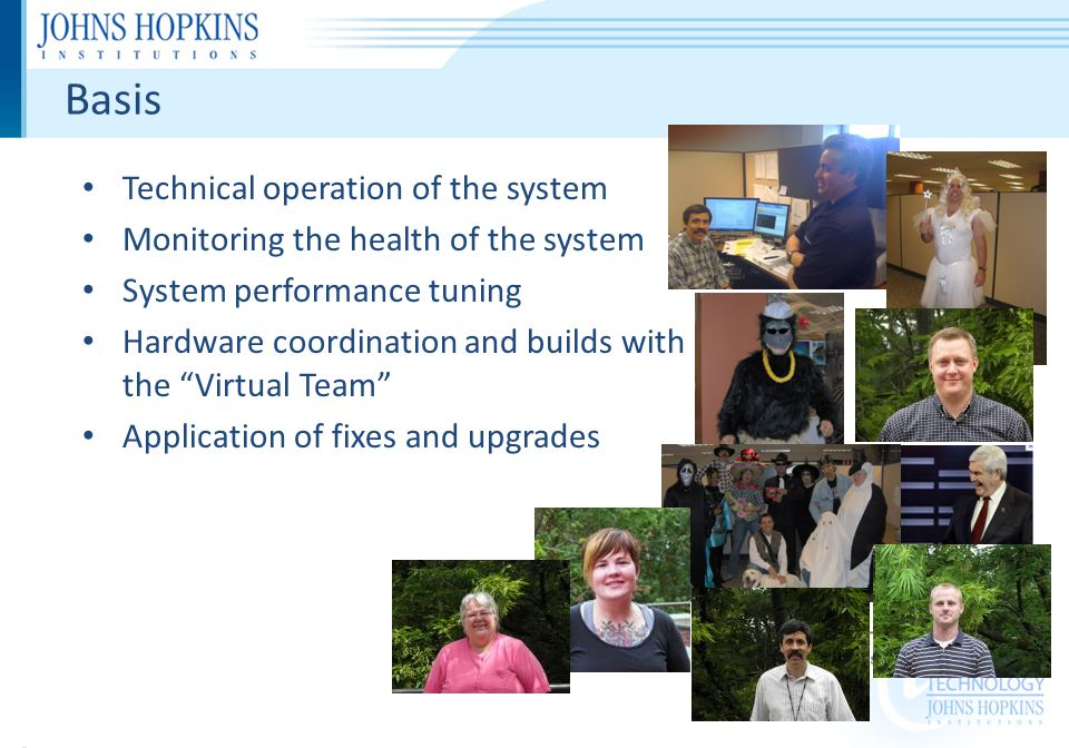 Basis Technical operation of the system Monitoring the health of the system System performance tuning Hardware coordination and builds with the Virtual Team Application of fixes and upgrades