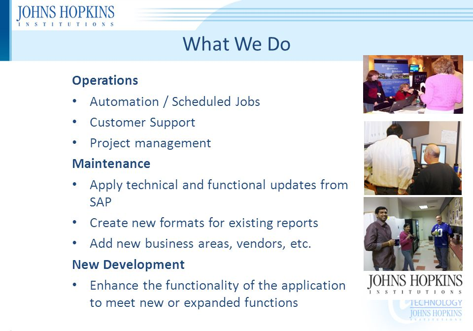 SAP SAP (Systems Analysis, and Program Development*) is a suite of software developed by SAP AG, headquartered in Walldorf, Germany, with many US offices SAP products implemented: ERP Central Component (ECC) Supplier Relationship Management (SRM) Business Warehouse (BW) Business Objects (BObj) Systems being deployed now (2012) – PI Reporting, EPIC, Nursing Productivity Ancillary Systems: Enterprise Portal (EP) = Main Customer facing portal Process Integration (PI) = Interface engine Solution Manager (SM) = Monitoring and maintenance Master Data Management (MDM) = Catalogs * … or if you prefer German: Systemanalyse und Programmentwicklung