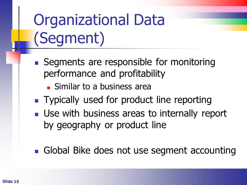 Slide 15 Organizational Data (Segment) Segments are responsible for monitoring performance and profitability Similar to a business area Typically used