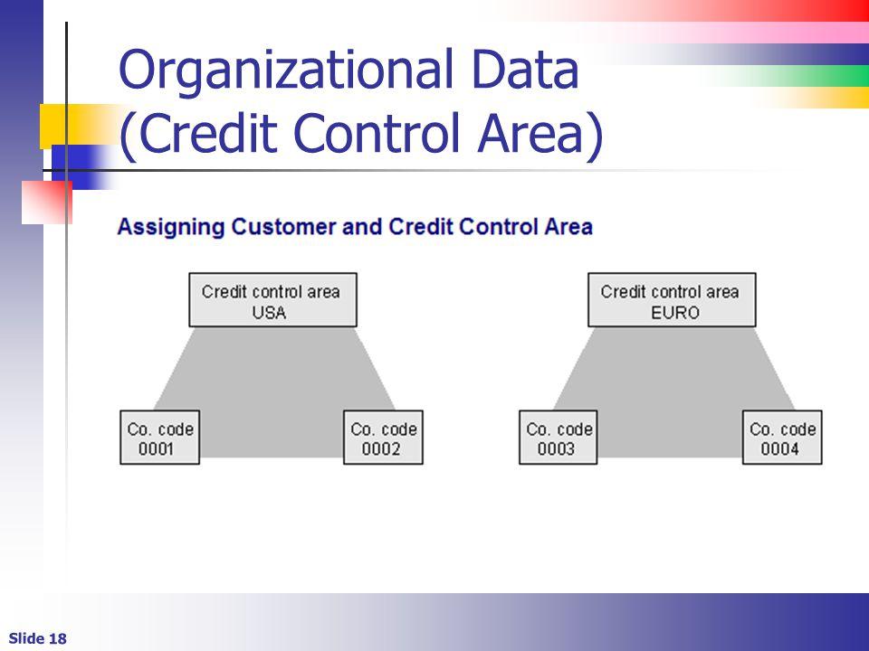 Slide 18 Organizational Data (Credit Control Area)