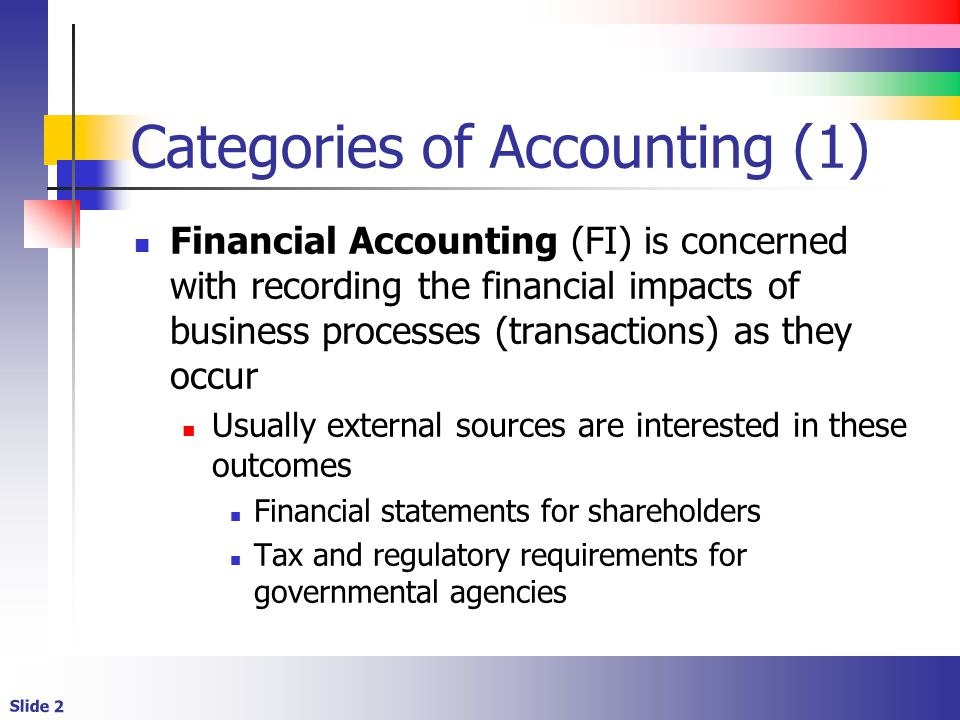 Slide 2 Categories of Accounting (1) Financial Accounting (FI) is concerned with recording the financial impacts of business processes (transactions)