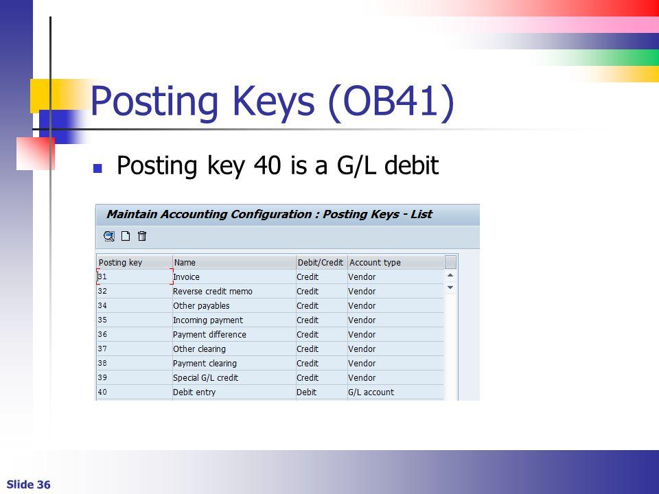 Slide 36 Posting Keys (OB41) Posting key 40 is a G/L debit