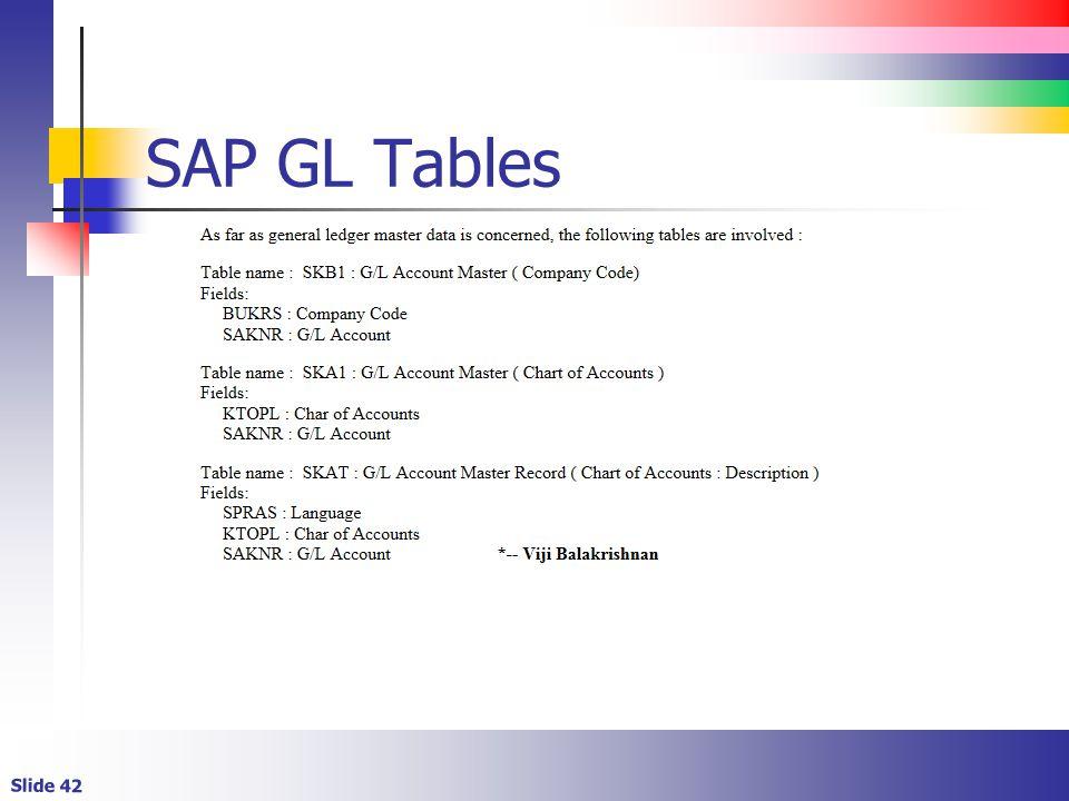 Slide 42 SAP GL Tables