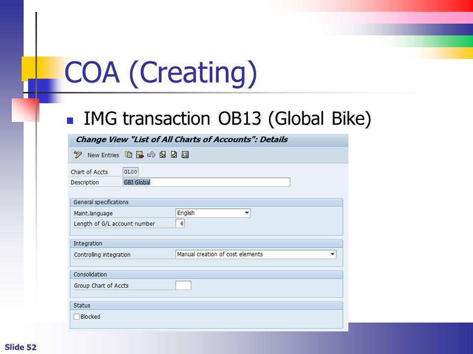 Slide 52 COA (Creating) IMG transaction OB13 (Global Bike)
