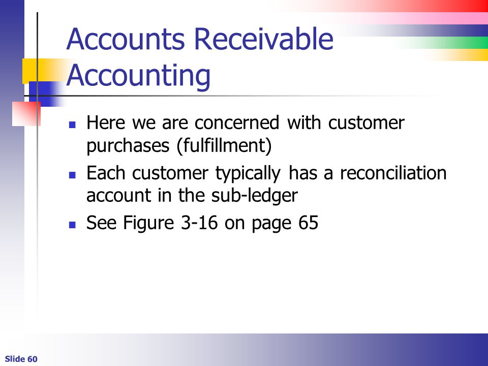 Slide 60 Accounts Receivable Accounting Here we are concerned with customer purchases (fulfillment) Each customer typically has a reconciliation accou