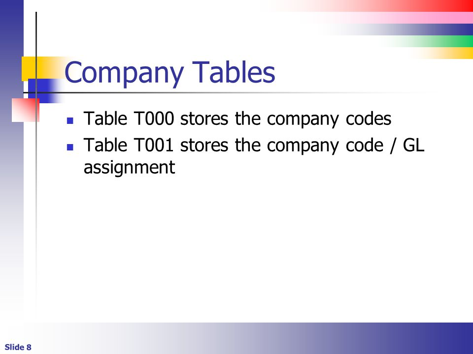 Slide 8 Company Tables Table T000 stores the company codes Table T001 stores the company code / GL assignment